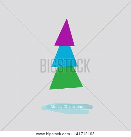 Merry Christmas Card With Blue Pink Green Tree