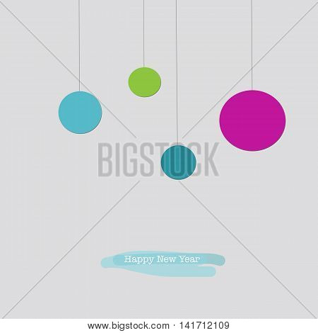 Happy New Year Greeting Card With Blue Pink Green Baubles