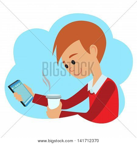 Vector illustration in flat style. Icon of young guy with phone in hand.