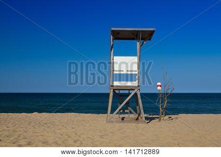 Watchtower on the empty beach Cape Cod Massachusetts USA