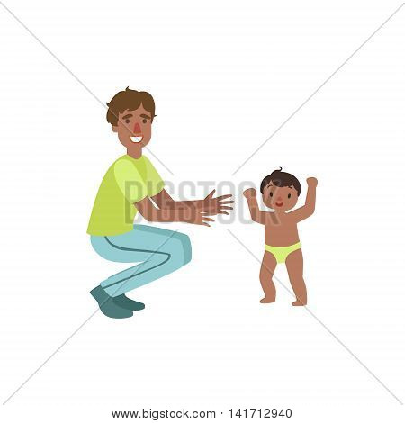 Dad Crouching To Catch Walking Toddler Simple Childish Flat Colorful Illustration On White Background
