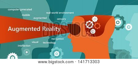 AR augmented reality concept illustration had vision interaction vector