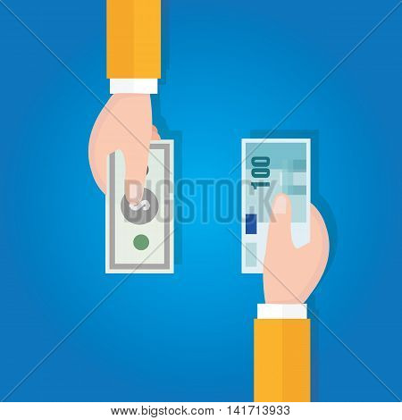 money currency exchange financial transaction vector flat hand