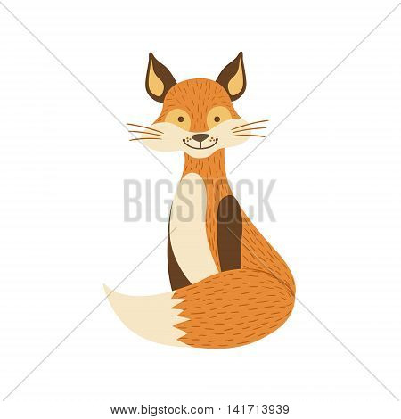 Smiling Fox Sitting Like Cat Stylized Cute Childish Flat Vector Drawing Isolated On White Background