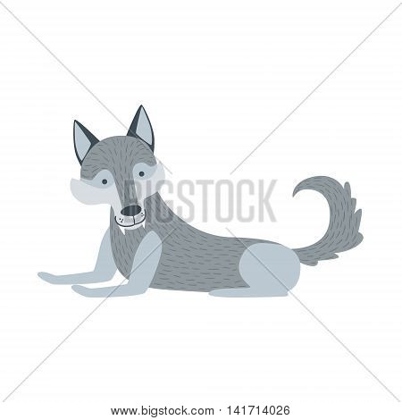 Grey Wolf With Fangs Laying Down Stylized Cute Childish Flat Vector Drawing Isolated On White Background