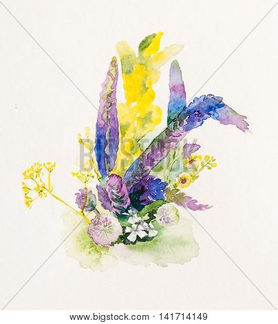 Watercolor painting of colorful bouquet of wildflowers
