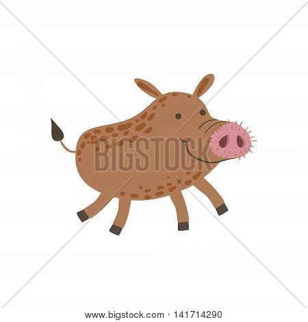 Smiling Wild Boar Running Stylized Cute Childish Flat Vector Drawing Isolated On White Background