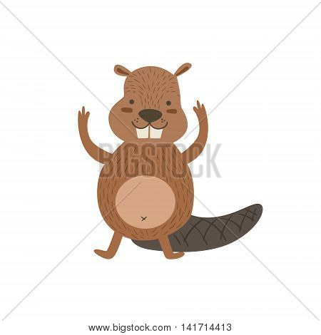 Humanized Beaver Greeting Stylized Cute Childish Flat Vector Drawing Isolated On White Background