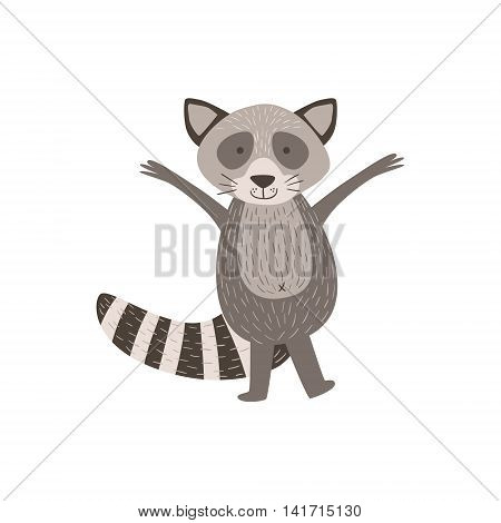 Humanized Raccoon Greeting Stylized Cute Childish Flat Vector Drawing Isolated On White Background