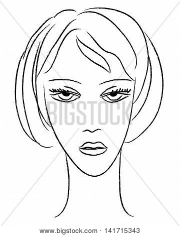 Young woman face vector. Beautiful face and shoulder vector.