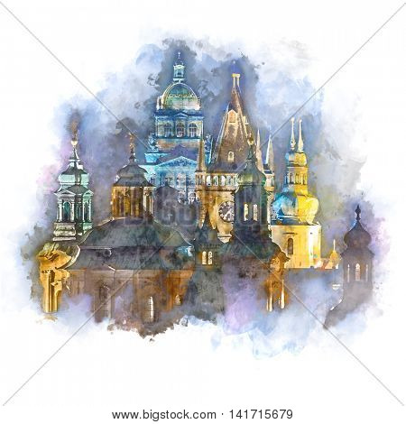 Prague, fantastic old town roofs during twilight with towers, clock and night illumination -  watercolor style artwork.  Czech Republic, European famous landmark