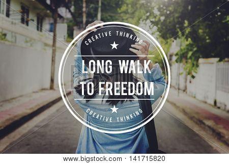 Long Walk to Freedom Emancipated Human Rights Liberty Concept
