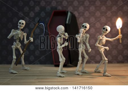 Three skeletons in the dark place and the reaper behind them