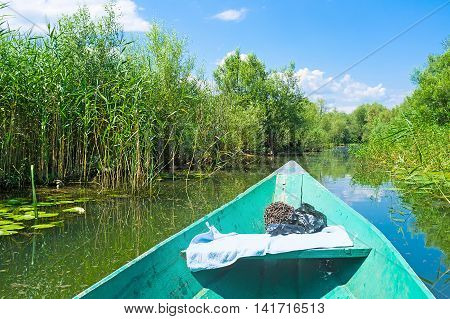 The interesting trip on the punt boat on the Moraca River to Skadar Lake Vranjina Montenegro.