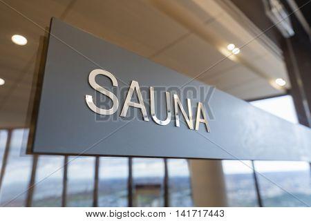 Close-up of sign of a modern sauna room