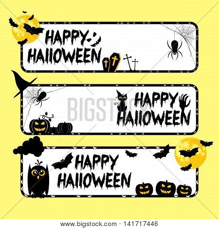 Holiday banners on theme of Halloween. Black frames with pumpkins bats and spiders and white background. Trick or treat vector illustration