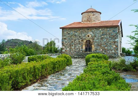 One of the most famous painted Byzantine Churches of Timios Stavros (Holy Cross) located in Pelendri village Troodos District Cyprus.