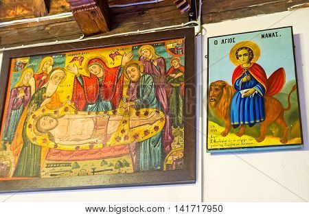 FIKARDOU CYPRUS - AUGUST 6 2014: The icons in Church of Apostles Peter and Paul on August 6 in Fikardou.