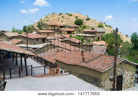 The tiled roofs of abandoned medieval Fikardou village serving as the open air historic and ethnographic site Cyprus.