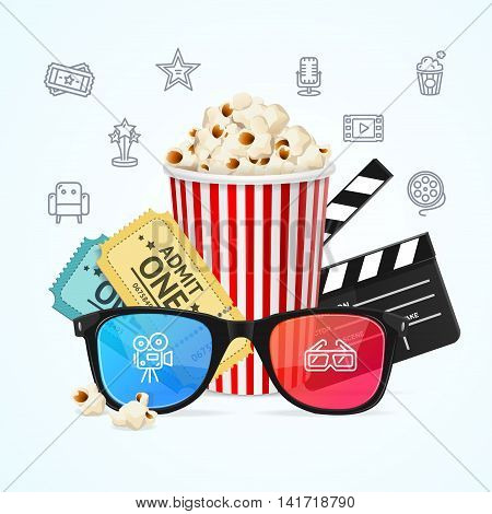 Cinema Concept Can Be Used for Posters, Invitations, Cards. Vector illustration