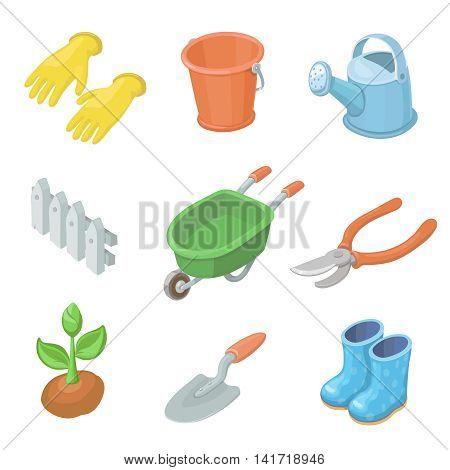 Gardening work tools icons set. Nice equipment for working in garden, gardening cart, gloves, secateurs, seeds, truck, shovel. Vector