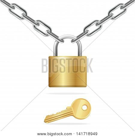 Golden Chain, Padlock and Key Isolated on White Background. Vector illustration