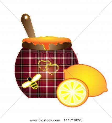 white background and abstract sewing plaid pot of honey with yellow lemon and flying bee