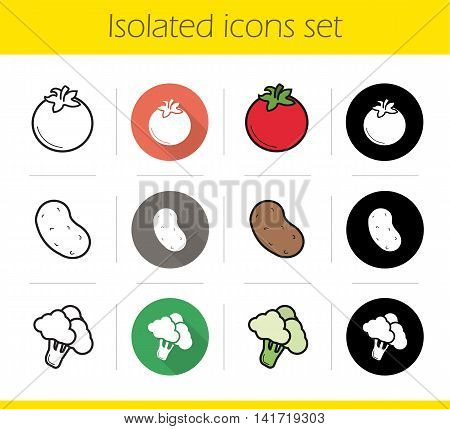Vegetables icons set. Flat design, linear, black and color styles. Tomato, potato and broccoli. Isolated vector illustrations