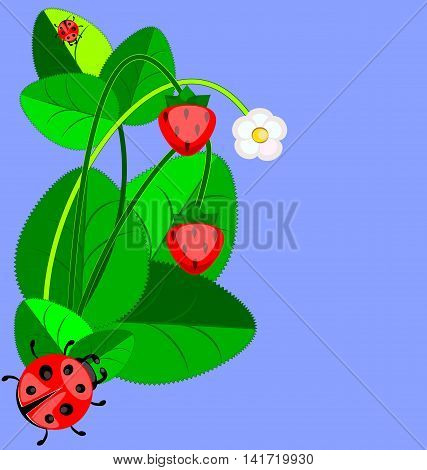 blue background with abstract strawberry and ladybug