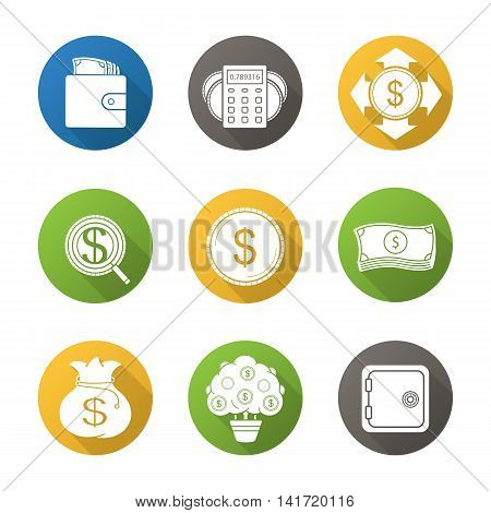 Banking and finance flat design long shadow icons set. Purse with cash, money spending calculations, investor search, dollar coin and bills stack, bank vault, money bag and tree symbols. Vector