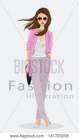 Beautiful young woman wearing fashion clothes, glasses and with bag. Fashion model. Vector illustration isolated.