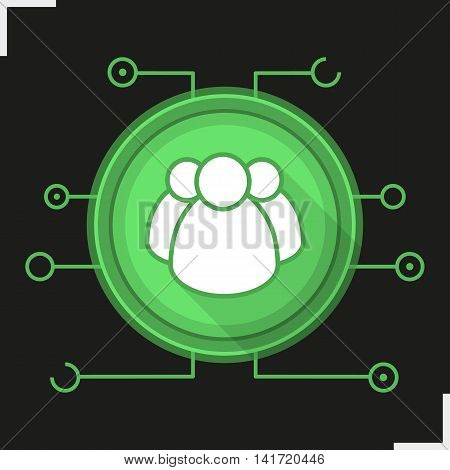 User group flat design long shadow icon. Personal data security. Networking. Users vector silhouette symbols