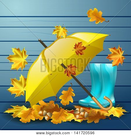 Autumn vector background with leaves, yellow umbrella, blue rubber boots and acorns with oak leaves.