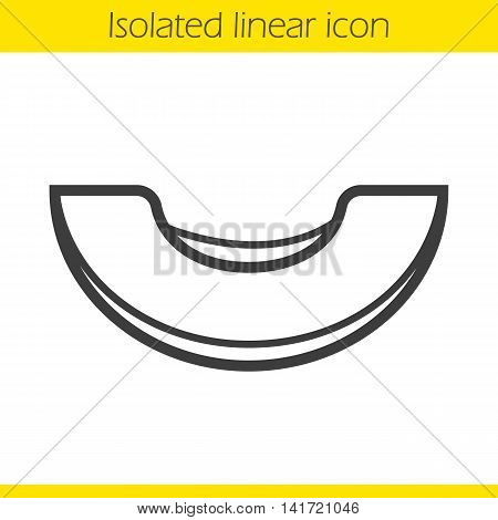 Melon linear icon. Thin line illustration. Melon fruit slice contour symbol. Vector isolated outline drawing