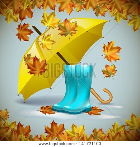 Autumn vector background with autumn leaves with yellow umbrella and rubber boots.