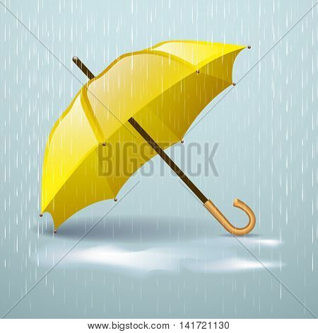 Autumn vector background with yellow umbrella in the rain and autumn puddles
