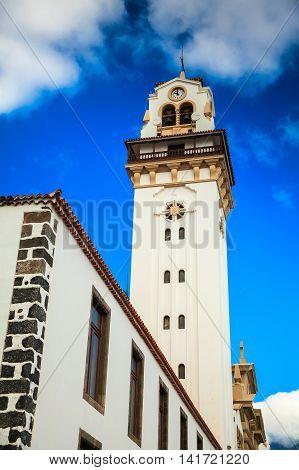 the tower of Basilica de Candelaria church in Tenerife Canary Islands Spain