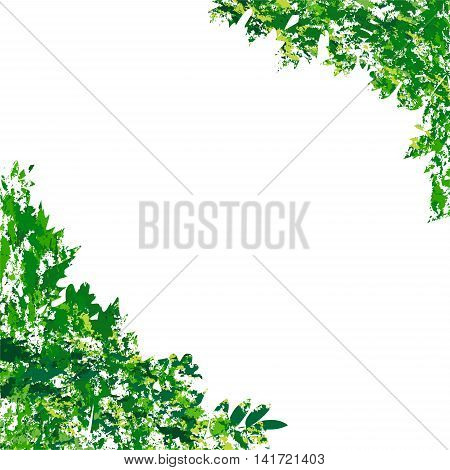 illustration with vector summer eaves in grunge style