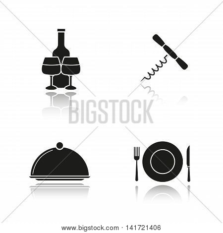 Restaurant items drop shadow black icons set. Wine bottle and glasses, corkscrew, covered dish, fork, plate and table knife. Isolated vector illustrations