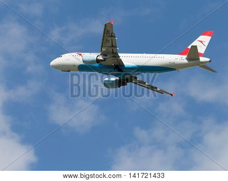 Moscow region - 31 July 2016: passenger aircraft Airbus A 320-214 Austrian Airlines flies to Moscow's Domodedovo airport July 31 2016 Moscow Region Russia