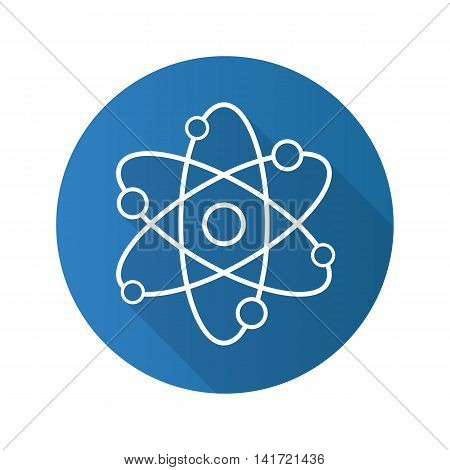 Atom flat linear long shadow icon. Atomic structure model. Physics sign. Vector line symbol
