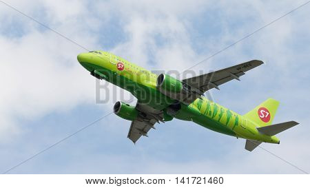 Moscow region - 31 July 2016: a beautiful passenger aircraft Airbus A320-21 S7 Airlines flies to Moscow's Domodedovo airport July 31 2016 Moscow Region Russia