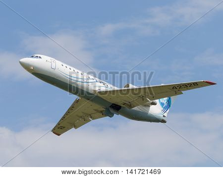 Moscow region - 31 July 2016: A passenger plane Yak-42D Saratov Airlines flies to Moscow's Domodedovo airport July 31 2016 Moscow Region Russia