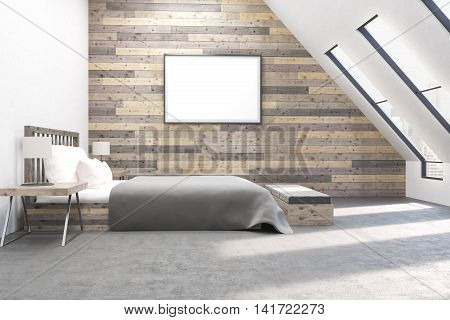 Modern bedroom with comfortable furniture. Wooden walls. Concept of appartment. 3D render.