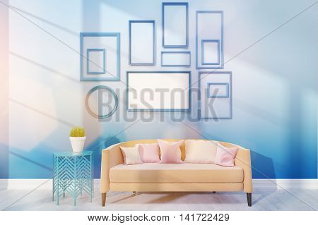 Cosy living room with medium poster on blue wall. Potted plant near large biege sofa. 3D render. Mock up.