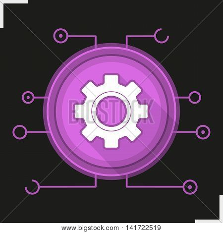 Gear digital color icon. Settings symbol. Cogwheel in round microchip. Cyber technology. Vector isolated illustration
