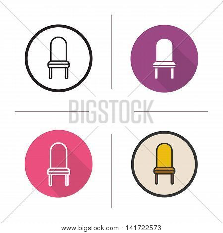Chair icon. Flat design, linear and color styles. Classic kitchen chair in different styles. Isolated vector illustrations