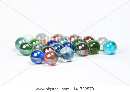 Colorful Marbles glass transparent on white background