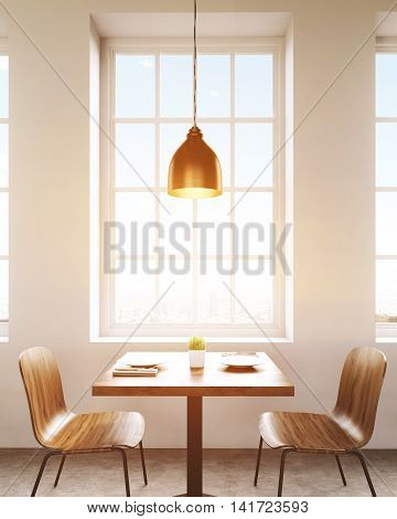 Canteen interior. Square table with plates and napkins. Big window. Ceiling lamp. Concept of local business. 3d rendering. Toned image