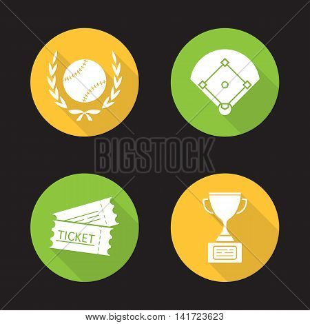 Baseball championship flat design long shadow icons set. Softball ball in laurel wreath, field, tickets, winner's trophy cup. Vector symbols